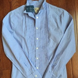 Lands End Parisian Blue Tuxedo Style Cotton Blouse